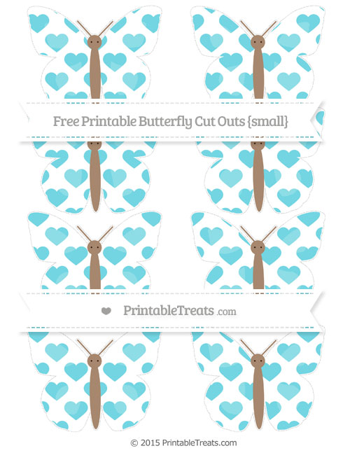 Free Pastel Teal Heart Pattern Small Butterfly Cut Outs