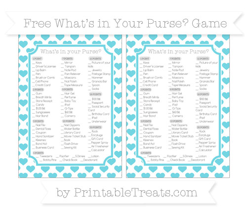 Free Pastel Teal Heart Pattern What's in Your Purse Baby Shower Game