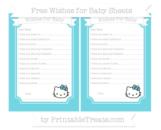 Free Pastel Teal Hello Kitty Wishes for Baby Sheets