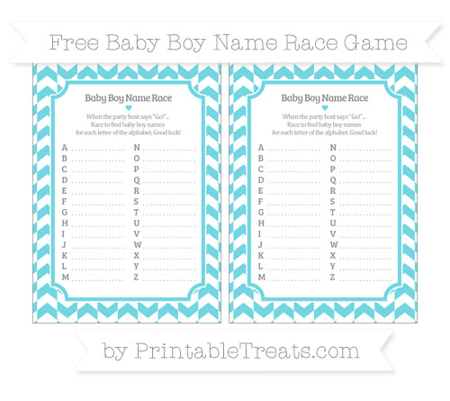 Free Pastel Teal Herringbone Pattern Baby Boy Name Race Game