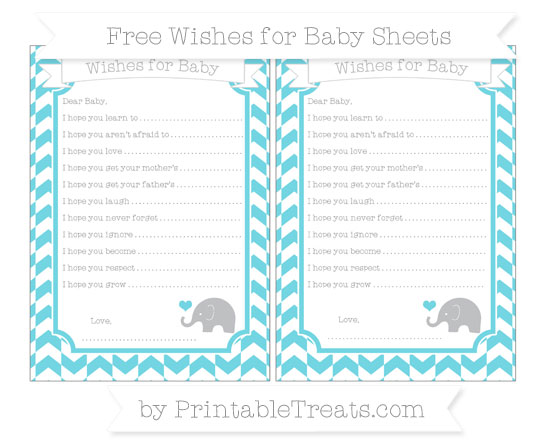 Free Pastel Teal Herringbone Pattern Baby Elephant Wishes for Baby Sheets