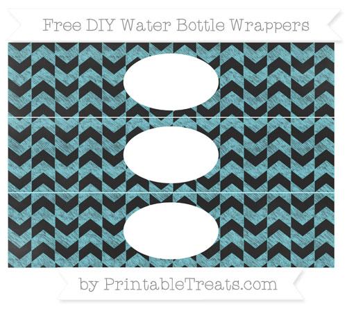 Free Pastel Teal Herringbone Pattern Chalk Style DIY Water Bottle Wrappers