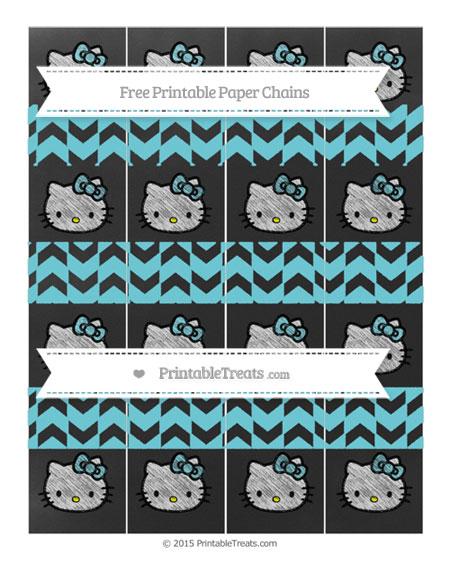 Free Pastel Teal Herringbone Pattern Chalk Style Hello Kitty Paper Chains