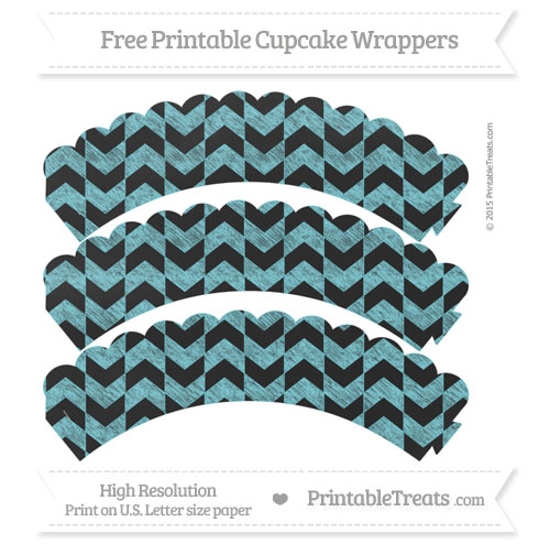 Free Pastel Teal Herringbone Pattern Chalk Style Scalloped Cupcake Wrappers