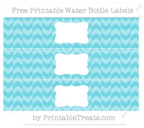 Free Pastel Teal Herringbone Pattern Water Bottle Labels