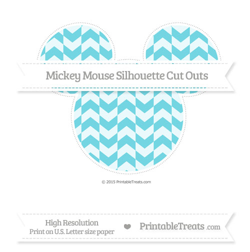 Free Pastel Teal Herringbone Pattern Extra Large Mickey Mouse Silhouette Cut Outs