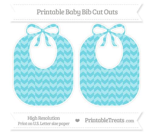 Free Pastel Teal Herringbone Pattern Large Baby Bib Cut Outs