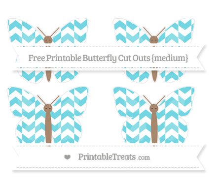 Free Pastel Teal Herringbone Pattern Medium Butterfly Cut Outs
