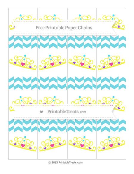 Free Pastel Teal Herringbone Pattern Princess Tiara Paper Chains