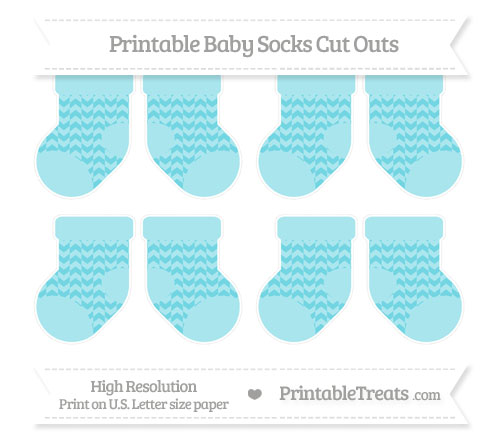Free Pastel Teal Herringbone Pattern Small Baby Socks Cut Outs