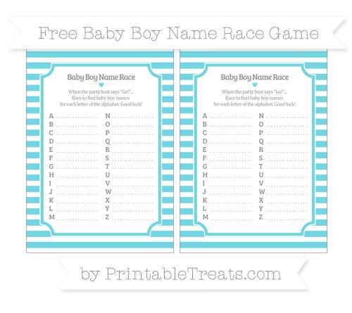 Free Pastel Teal Horizontal Striped Baby Boy Name Race Game