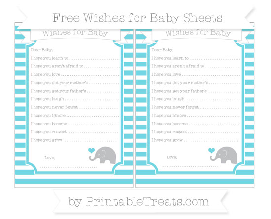 Free Pastel Teal Horizontal Striped Baby Elephant Wishes for Baby Sheets