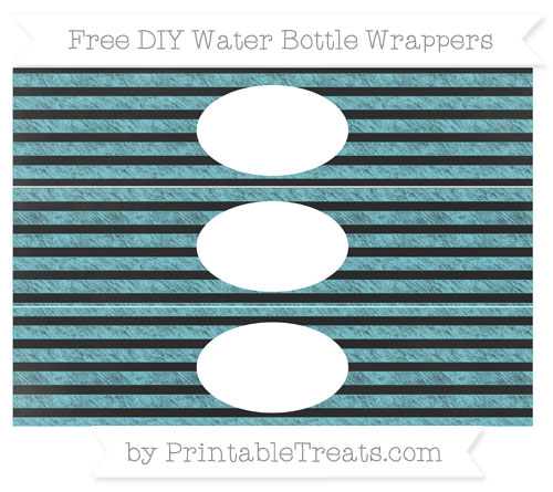Free Pastel Teal Horizontal Striped Chalk Style DIY Water Bottle Wrappers