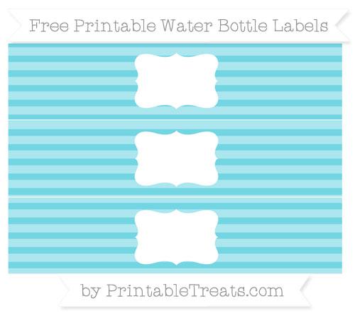 Free Pastel Teal Horizontal Striped Water Bottle Labels