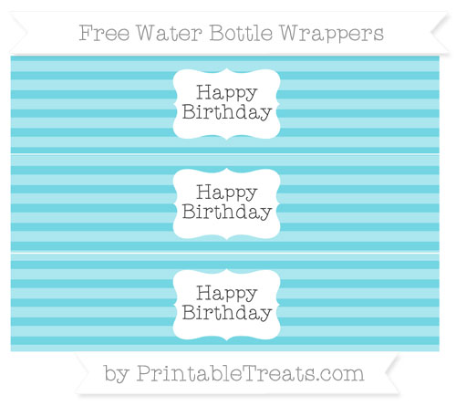 Free Pastel Teal Horizontal Striped Happy Birhtday Water Bottle Wrappers