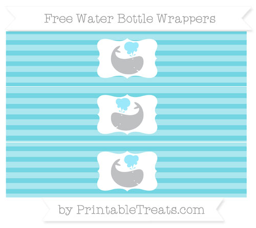 Free Pastel Teal Horizontal Striped Whale Water Bottle Wrappers