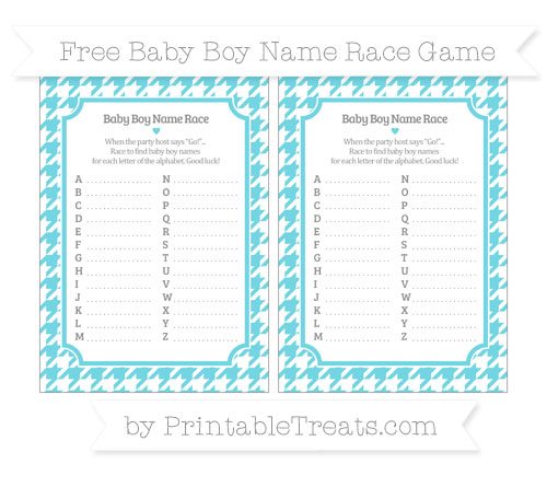 Free Pastel Teal Houndstooth Pattern Baby Boy Name Race Game