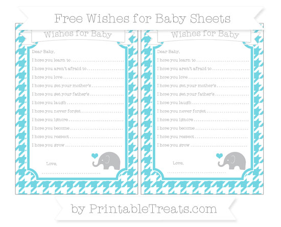 Free Pastel Teal Houndstooth Pattern Baby Elephant Wishes for Baby Sheets