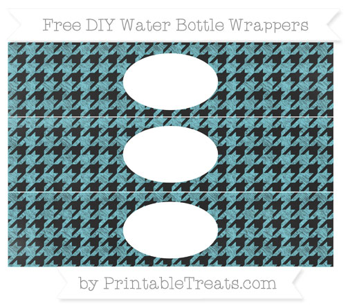 Free Pastel Teal Houndstooth Pattern Chalk Style DIY Water Bottle Wrappers