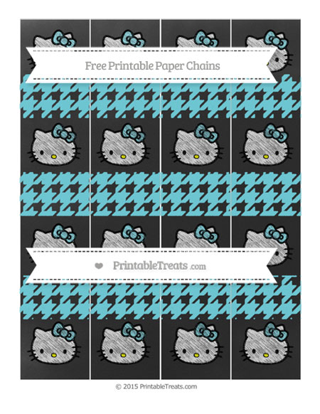 Free Pastel Teal Houndstooth Pattern Chalk Style Hello Kitty Paper Chains