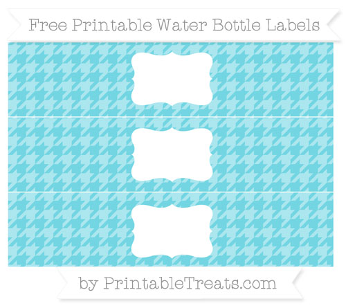 Free Pastel Teal Houndstooth Pattern Water Bottle Labels