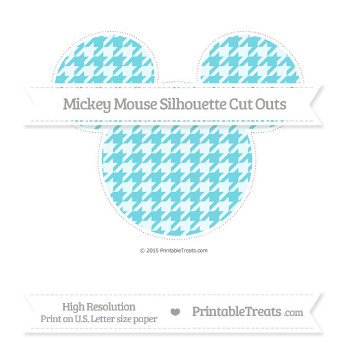 Free Pastel Teal Houndstooth Pattern Extra Large Mickey Mouse Silhouette Cut Outs