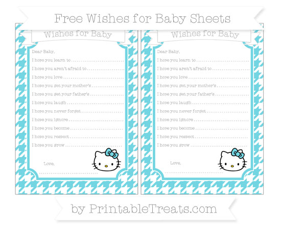 Free Pastel Teal Houndstooth Pattern Hello Kitty Wishes for Baby Sheets