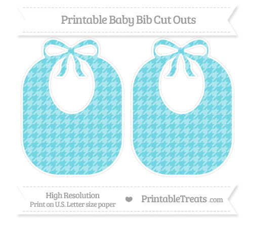 Free Pastel Teal Houndstooth Pattern Large Baby Bib Cut Outs