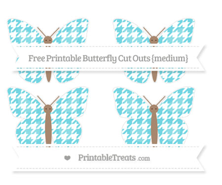 Free Pastel Teal Houndstooth Pattern Medium Butterfly Cut Outs