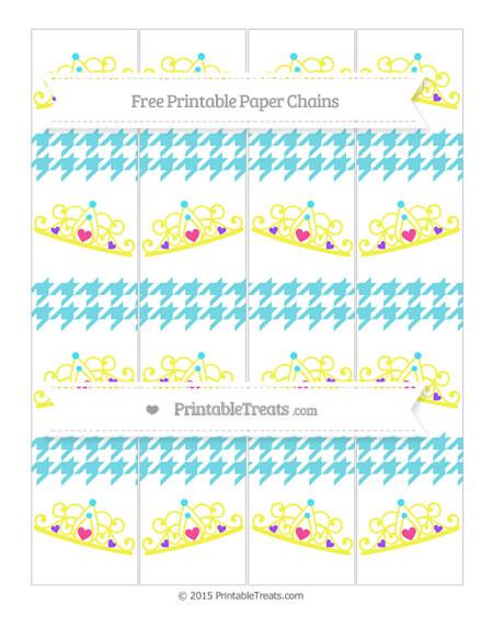 Free Pastel Teal Houndstooth Pattern Princess Tiara Paper Chains