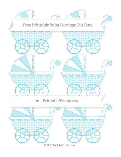 Free Pastel Teal Houndstooth Pattern Small Baby Carriage Cut Outs