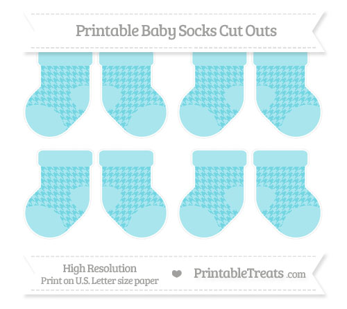 Free Pastel Teal Houndstooth Pattern Small Baby Socks Cut Outs