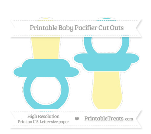 Free Pastel Teal Large Baby Pacifier Cut Outs