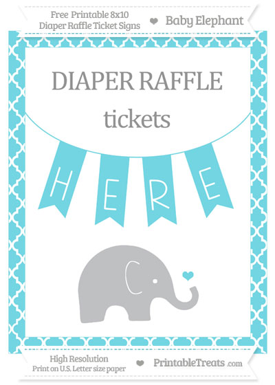 Free Pastel Teal Moroccan Tile Baby Elephant 8x10 Diaper Raffle Ticket Sign