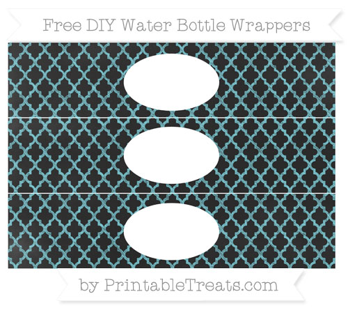 Free Pastel Teal Moroccan Tile Chalk Style DIY Water Bottle Wrappers