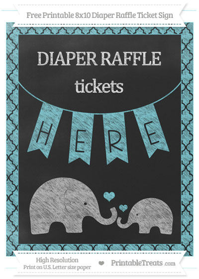 Free Pastel Teal Moroccan Tile Chalk Style Elephant 8x10 Diaper Raffle Ticket Sign