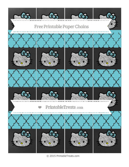 Free Pastel Teal Moroccan Tile Chalk Style Hello Kitty Paper Chains