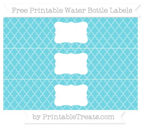 Free Pastel Teal Moroccan Tile Water Bottle Labels