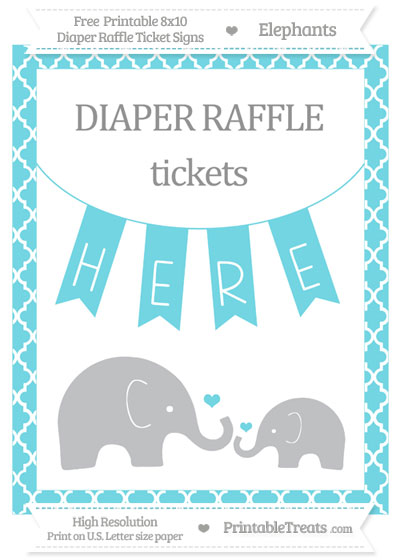 Free Pastel Teal Moroccan Tile Elephant 8x10 Diaper Raffle Ticket Sign