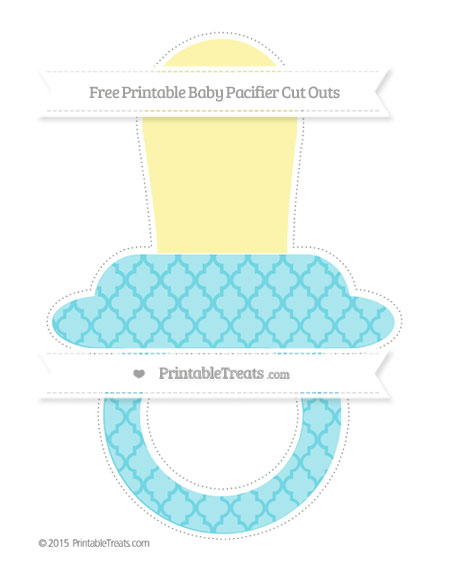 Free Pastel Teal Moroccan Tile Extra Large Baby Pacifier Cut Outs