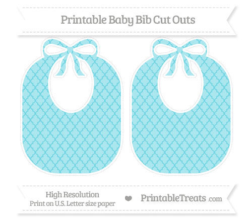 Free Pastel Teal Moroccan Tile Large Baby Bib Cut Outs