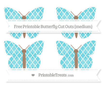 Free Pastel Teal Moroccan Tile Medium Butterfly Cut Outs