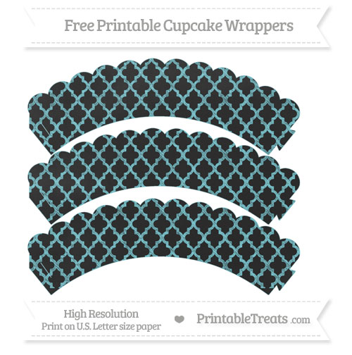 Free Pastel Teal Moroccan Tile Pattern Chalk Style Scalloped Cupcake Wrappers