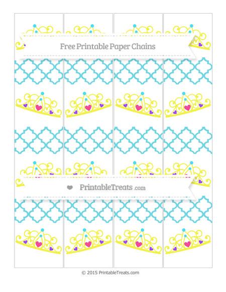 Free Pastel Teal Moroccan Tile Princess Tiara Paper Chains