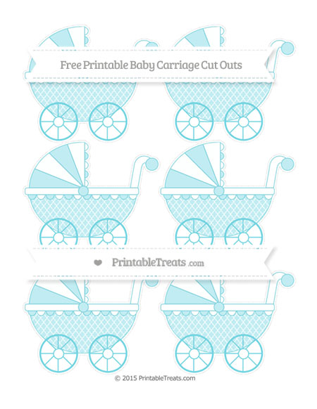 Free Pastel Teal Moroccan Tile Small Baby Carriage Cut Outs