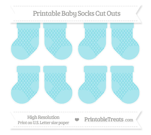 Free Pastel Teal Moroccan Tile Small Baby Socks Cut Outs