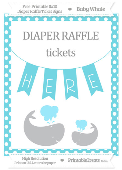 Free Pastel Teal Polka Dot Baby Whale 8x10 Diaper Raffle Ticket Sign