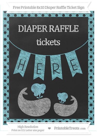 Free Pastel Teal Polka Dot Chalk Style Baby Whale 8x10 Diaper Raffle Ticket Sign