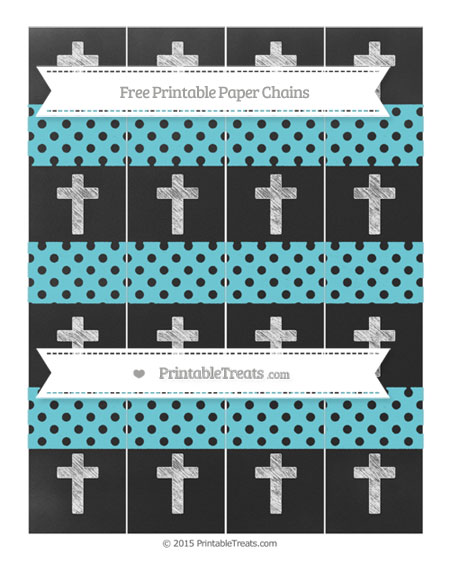 Free Pastel Teal Polka Dot Chalk Style Cross Paper Chains