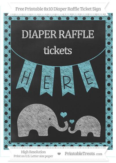 Free Pastel Teal Polka Dot Chalk Style Elephant 8x10 Diaper Raffle Ticket Sign